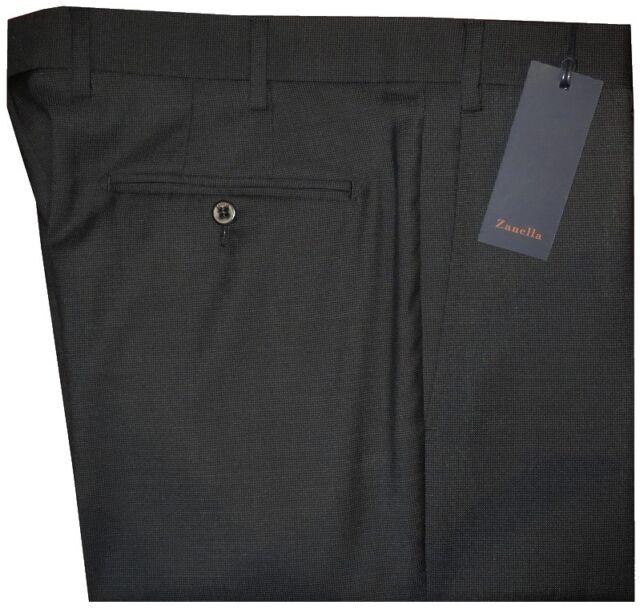 $345 NWT ZANELLA NORDSTROM DEVON BLACK-BROWN MICRO DOT GRID 120'S WOOL PANTS 34