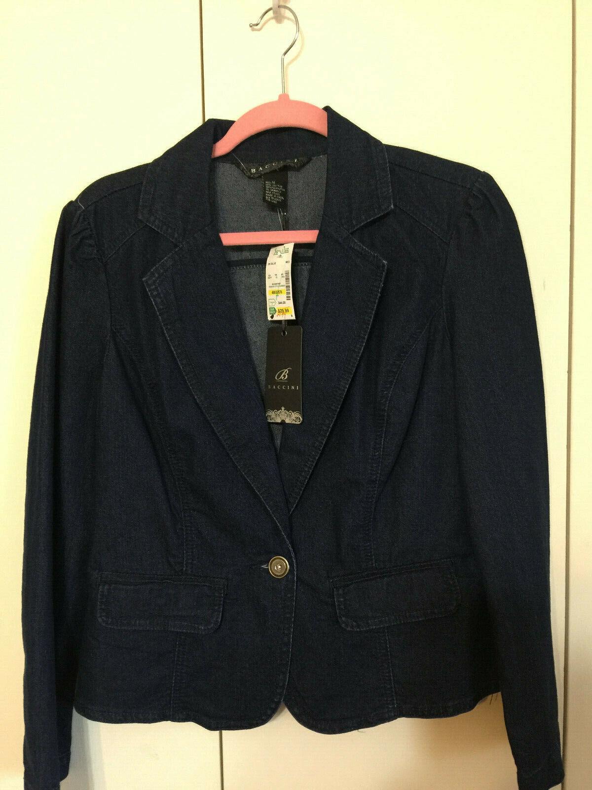Baccini Denim Sport Coat Blazer one-Button Jeans Outwear Med NWT Stretch Dark Wa