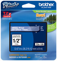 BRTTZE135 - Brother P-Touch TZe Standard Adhesive Laminated Labeling Tape 1 2w White on Clear Office Supplies
