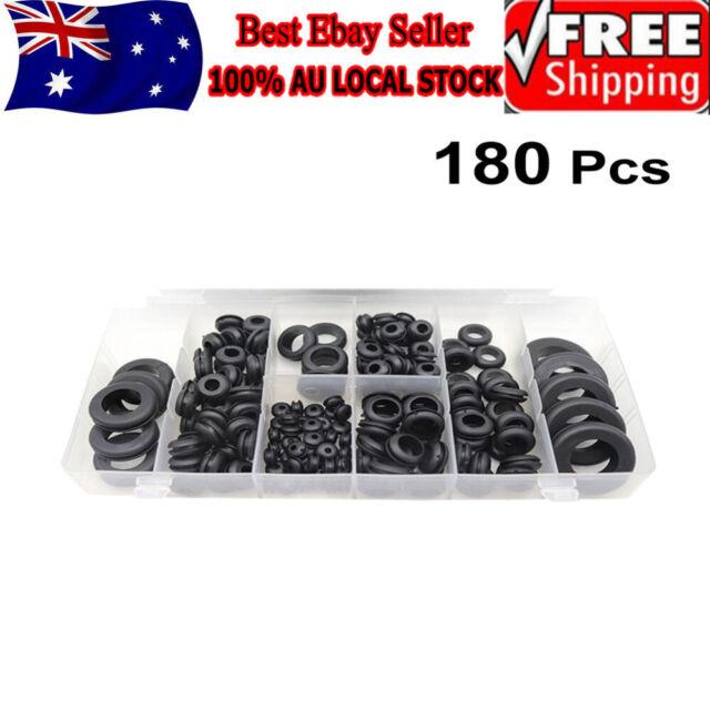 180Pcs Rubber Grommet Assortment Set Fastener Kit Blanking 8 Popular Sizes