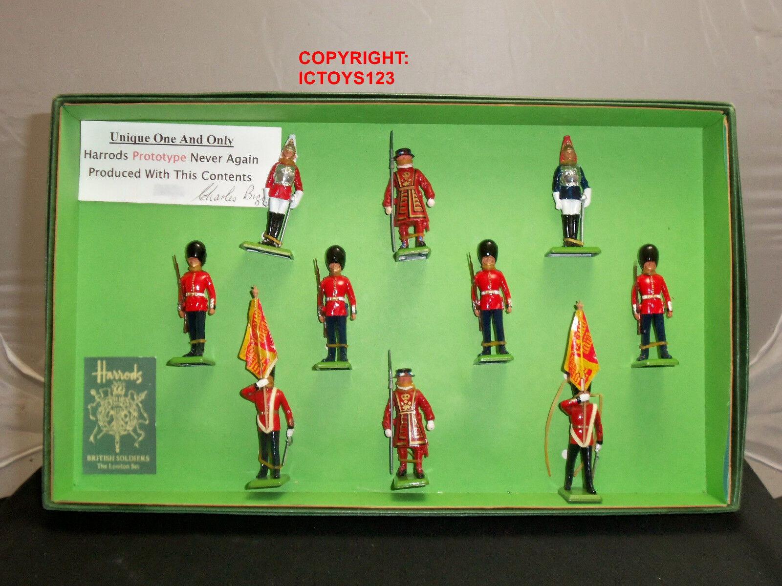 BRITAINS PRE PRODUCTION CEREMONIAL CHARLES BIGGS METAL TOY SOLDIER FIGURE SET