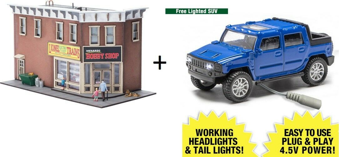 Ho Calibre Lionel Menards edición limitada de construcción de tienda de hobby + gratis de coche Camión