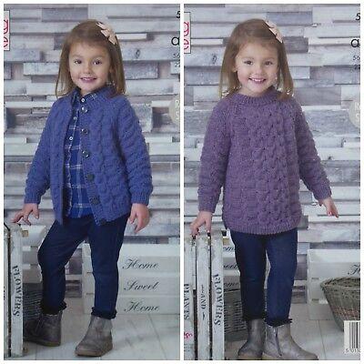 Girls Aran Knitting Pattern Cabled Raglan Sleeve Tunic Cardigan King Cole 5061
