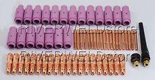 TIG KIT Back Cap Alumina Nozzle TIG Collet body Fit SR WP17 18 26 TIG Torch 62PK