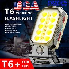 Us Portable Cob Led Work Light Car Garage Mechanic Usb Rechargeable Torch Lamp