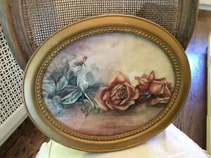 Shabby-antique-Vtg-Rose-Watercolor-Painting-Wood-gesso-bead-Frame-16x13