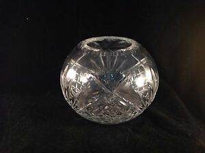Cut-Crystal-Glass-Globe-Vase-3-3-4-034-Tall-5-034-Diameter