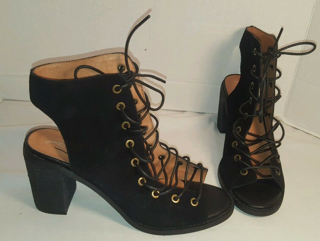 NEW JEFFREY CAMPBELL FREE PEOPLE BLACK SUEDE MINIMAL LACE UP HEEL WOMEN'S US 9.5