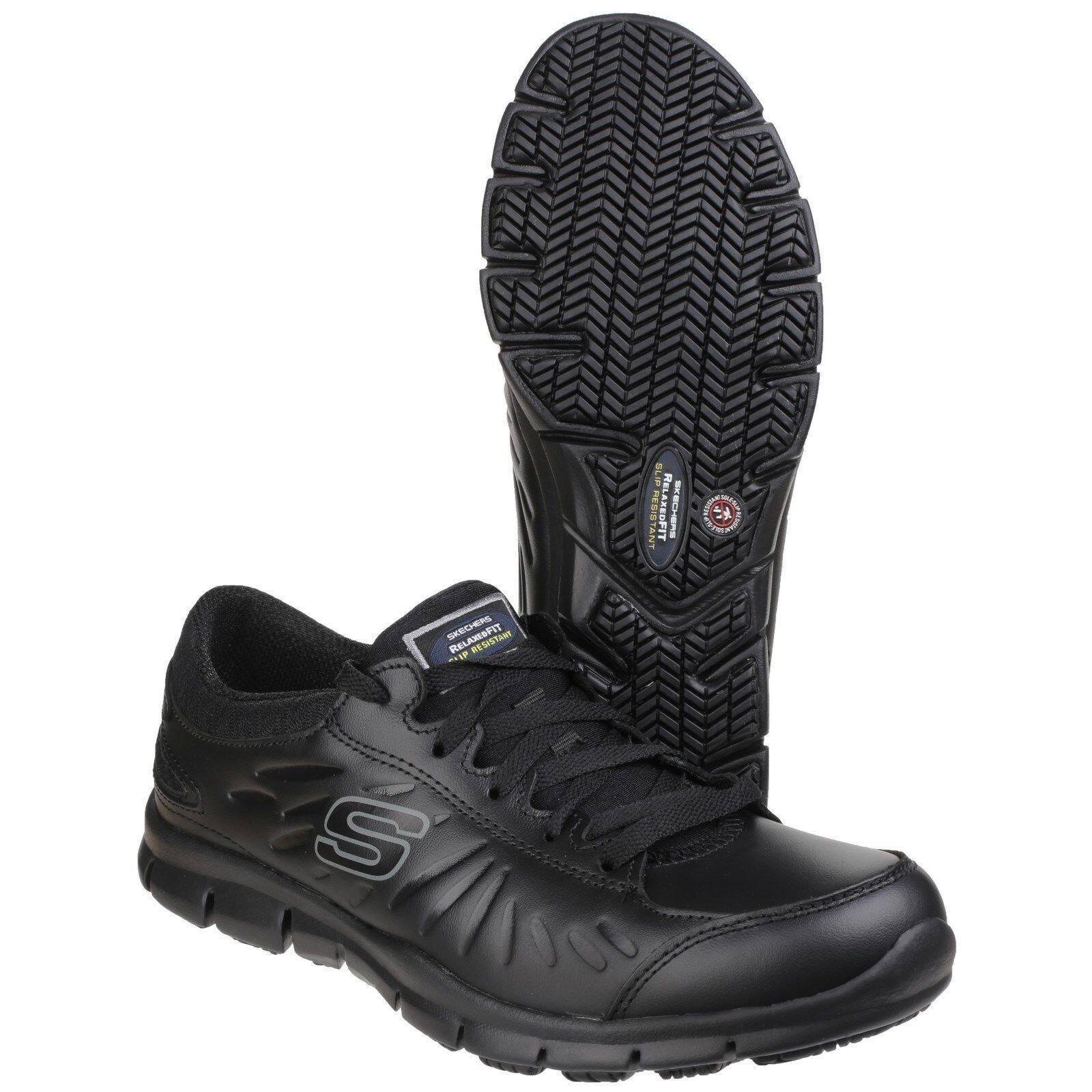 Trabajo de SKECHERS Eldred SR Zapatillas Memoria Espuma Antideslizante Cuero Zapatos para mujer