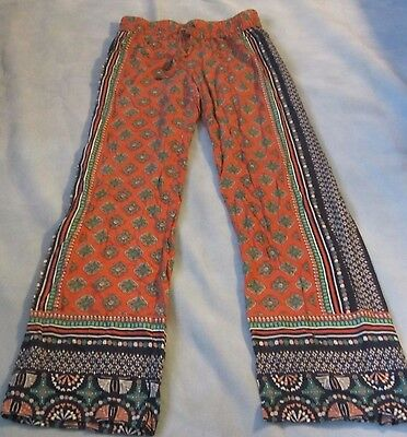 "Kenar M 32"" Women's Wide Leg Boho Tribal Print Drawstring Lounge Palazzo Pants"