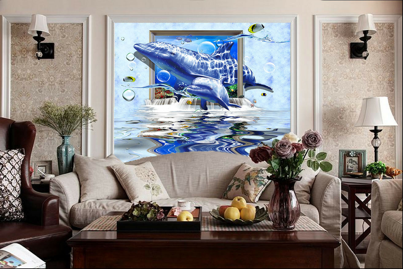 3D Dolphins River 88 Wall Paper Murals Wall Print Wall Wallpaper Mural AU Kyra