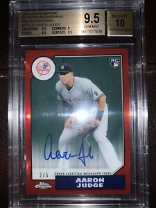 2017 Topps Chrome '87 Red Refractor Aaron Judge RC AUTO /5 BGS 9.5 GEM MT 10Auto