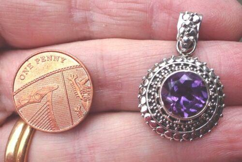 Superb Boho Filigree Sterling Silver and Amethyst Pendant                   b
