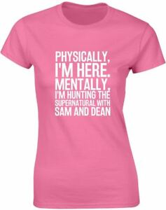 Hunting-the-Supernatural-with-Sam-amp-Dean-Slogan-Printed-Ladies-T-Shirt-Tee-Women