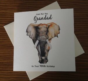 Image Is Loading PERSONALISED ELEPHANT BIRTHDAY CARD Dad Grandad 50th 60th