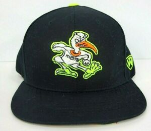 Vtg-Miami-Hurricanes-Hat-Canes-Neon-Black-Snapback-One-Size-Throwback-College