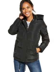 V by Very Hooded Short Puffer Coat In Black Size 8