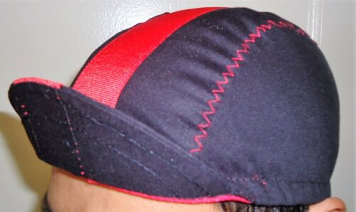 CYCLING CAP ONE SIZE COLOR BLACK STRAP RED   100/% COTTON