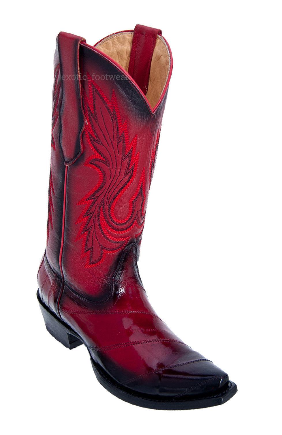 Donna LOS ALTOS RED FADED GENUINE EEL SNIP TOE WESTERN COWBOY BOOT 340812