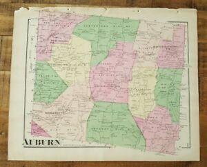 Pennsylvania A Pomeroy & Co.1872 Antik Gefärbten Map Of Auburn
