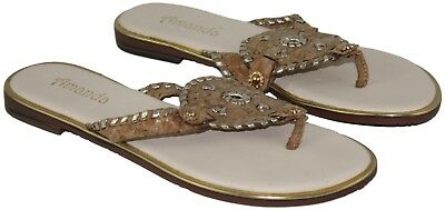 Amanda Women Ladies Gold Cork Circle Medallion Slip On