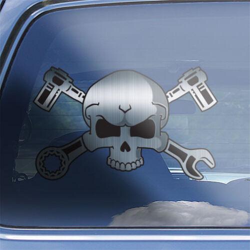 Mechanic Skull Decal socket wrench mechanic crossbones tool box gearhead sticker
