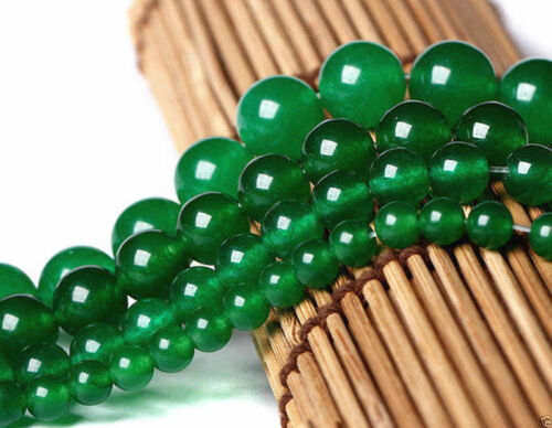 4//6//8//10MM Natural Green Jade Gemstone Round Loose Beads 15/'/' yyy