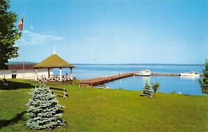 Details about Bayfield Wisconsin~City Park & Harbor~Big Boats at  Dock~Summer House~1956 PC