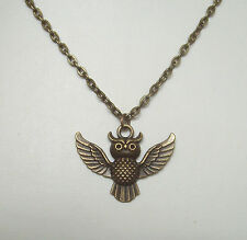 """Bronze Owl Pendant 20"""" Chain Necklace in Gift Bag"""