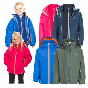 Trespass-Rockcliff-3in1-Kids-Waterproof-School-Jacket-Boys-Girls-Hooded-Raincoat