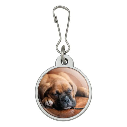 Boxer Puppy Dog Sleeping Leather Chair Jacket Handbag Purse Zipper Pull Charm