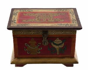 Scatola Cofanetto Tibetano Buddista 20cm Conch Vajra Fiocco Glorioso Nepal 3488