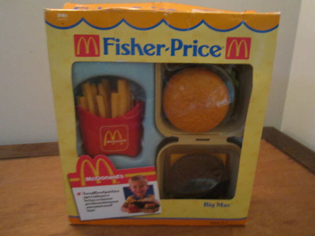 Fisher Price Fun med Food McDonalds Big Mac 2161 låda hamburgare Pommes frites
