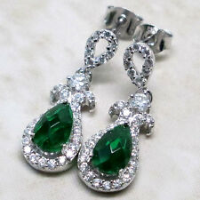 ATTRACTIVE 2 CT EMERALD 925 STERLING SILVER STUD EARRINGS