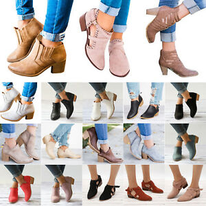 Womens Ankle Boots Mid Low Block Heels Chunky Booties Sandals Casual Shoes Sizes