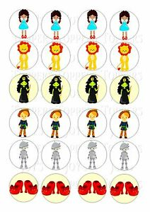 24 Wizard Of Oz Iced Icing Edible Fairy Cup Cake Toppers Ebay