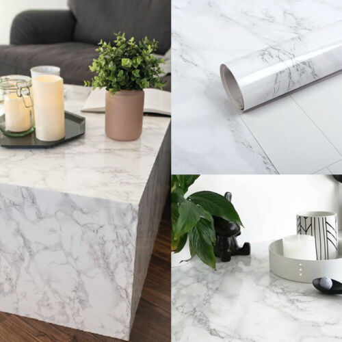 3D Marble Pattern Self Adhesive Glossy Film Cupboard Table Decal Wall Sticker UK