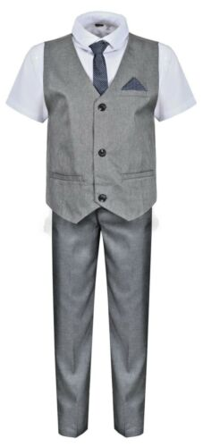 Boys Suits Grey 5 Piece Boys Wedding Suit Page Boy Party Prom 9 mths to 14 Years