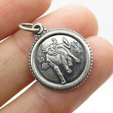 Vtg 925 Sterling Silver Chinese Design Zodiac Taurus Sign  Charm
