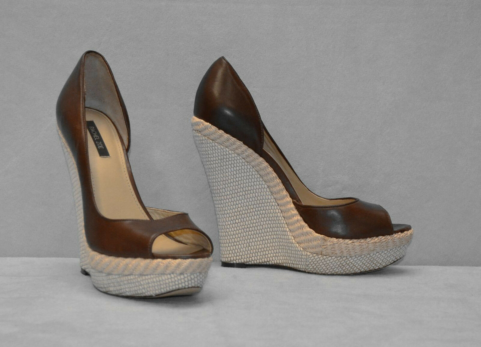 C0 Auth RACHEL ZOE Brown Leather Open Toe High Woven Wedge Shoes Size 8 M