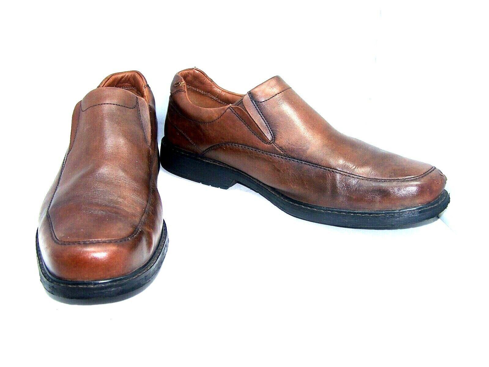 EUC Clarks Unstructured SZ 10.5 med chestnut brown leather loafer 13285