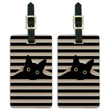 Black Cat in Window Luggage ID Tags Suitcase Carry-on Cards - Set of 2