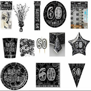 60th-Black-Glitz-Birhtday-Party-Supplies-Decorations-Tableware-18-items-Free-P-P
