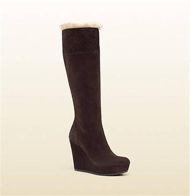 Gucci Courtney Brown Shearling Fur Suede GG Wedge Heel Knee High Tall Boots $995