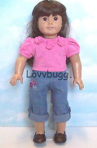 Dark Denim Overalls w T Shirt for 18 inch American Girl Doll Clothes LOVVBUGG!