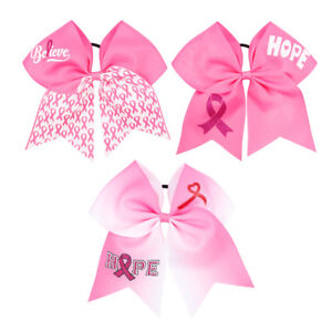2Pcs-7-034-Pink-Ribbon-Breast-Cancer-Cheer-Bows-With-Elastic-Hair-Band-For-Girls