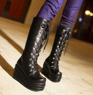 Sz35-43 Women Punk Lolita 16cm Super High Heel Platform Lace Up Gothic Boots