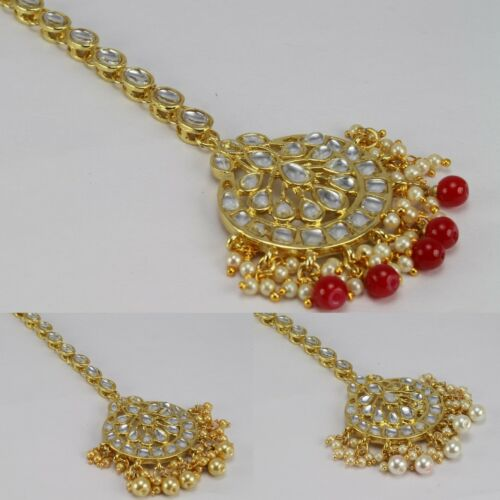 New Gold Plated kundan polki wedding bridal forehead women Maang Tikka Party