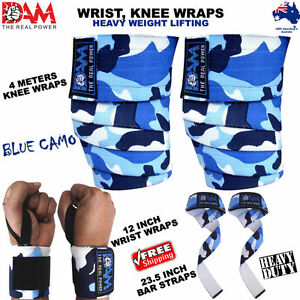 DAM-HEAVY-DUTY-WEIGHTLIFTING-KNEE-WRIST-WRAPS-BLUE-CAMO-BODY-BUILDING-GYM-STRAPS