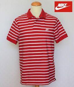 NIKE-Polo-Sportswear-rouge-blanc-Slim-Fit-Retro-VTG-USA-Tennis-Golf-XL